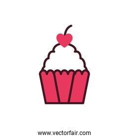Isolated heart cherry over cupcake vector design