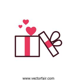 Isolated hearts inside gift vector illustration