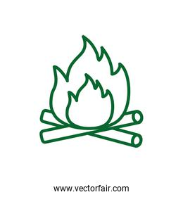 campfire line style isolated icon