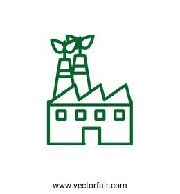 Isolated factory with leaves vector design