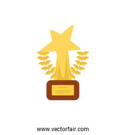 Gold trophy with leaves wreath vector design