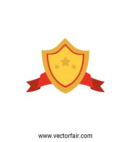 Isolated gold shield with ribbon vector design
