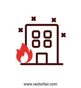 Isolated building with flame vector design