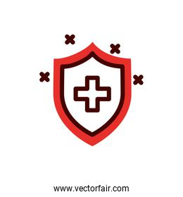 Cross inside shield of medical care concept vector design