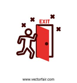 Isolated avatar with exit door vector design