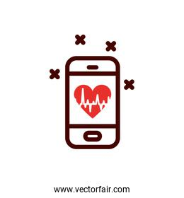 Isolated heart pulse inside smartphone vector design