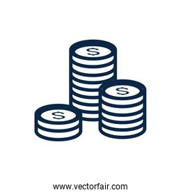 Isolated money coins vector design