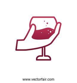 Isolated hand holding wine cup vector design