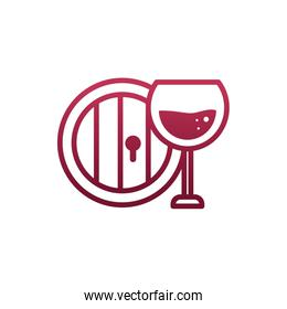 Isolated wine cup and barrel vector design