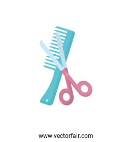 Isolated hair comb and scissor vector design
