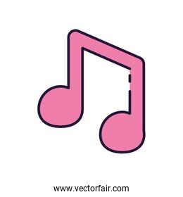 Isolated music note fill style icon vector design