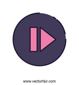 Isolated music play button fill style icon vector design