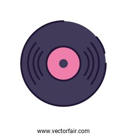Isolated music vinyl note fill style icon vector design
