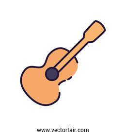 Isolated music guitar instrument fill style icon vector design
