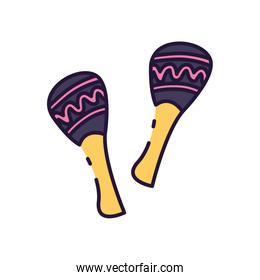 Isolated music maracas instrument fill style icon vector design