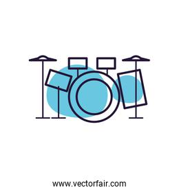 Isolated drum kit note line style icon vector design