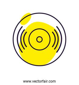 Isolated music vinyl note line style icon vector design