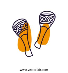 Isolated music maracas instrument line style icon vector design