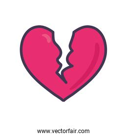 Isolated broken heart line and fill style icon vector design