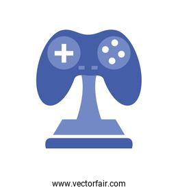 Isolated videogame control trophy line style icon vector design