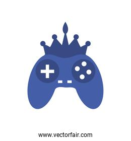Isolated videogame control with crown line style icon vector design