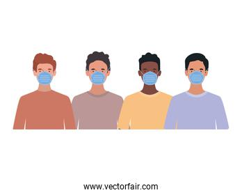 Avatar men with medical masks vector design
