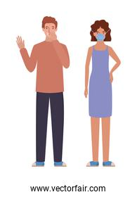 Man and woman with mask and dry cough vector design