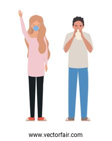 Man and woman with mask and cold vector design