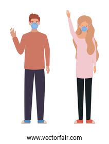 Man and woman with medical masks vector design
