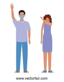 Man and woman with mask and sneezing vector design