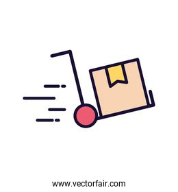 Delivery box over cart line and fill style icon vector design