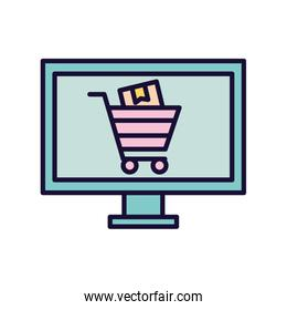 shopping cart with box inisde computer line and fill style icon vector design
