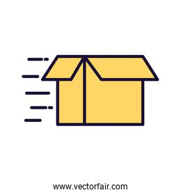 Delivery open box line and fill style icon vector design