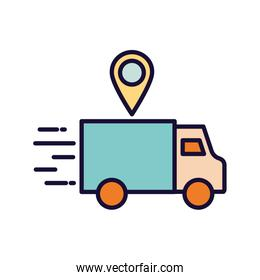 Delivery truck and gps mark line and fill style icon vector design