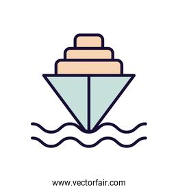 Isolated ship vehicle line and fill style icon vector design