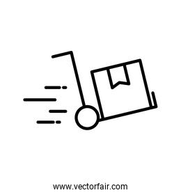 Delivery box over cart line style icon vector illustration