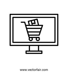shopping cart with box inisde computer line style icon vector design