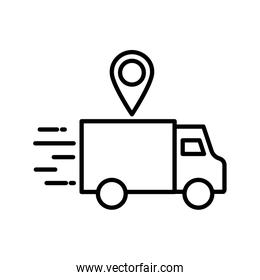 Delivery truck and gps mark line style icon vector design