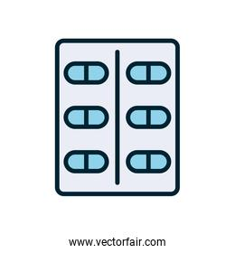 Isolated medicine pills line and fill style icon vector design