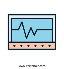 Isolated heart pulse inside tablet line and fill style icon vector design