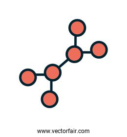 Isolated atom line and fill style icon vector design