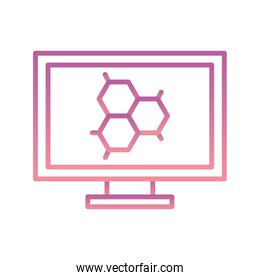 Isolated atom inside computer gradient style icon vector design