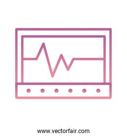 Isolated heart pulse inside tablet gradient style icon vector design