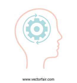 gear and repeat arrows inside human head line style icon vector design