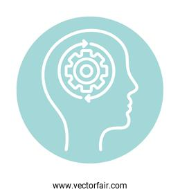 gear and repeat arrows inside human head block style icon vector design