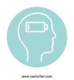 low battery inside human head block style icon vector design