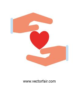 Hands with heart flat style icon vector design