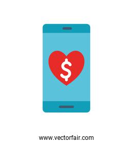smartphone with heart as donation symbol flat style icon vector design