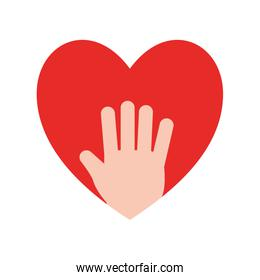 Heart with hand flat style icon vector design