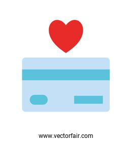 credit card with heart as donation symbol flat style icon vector design